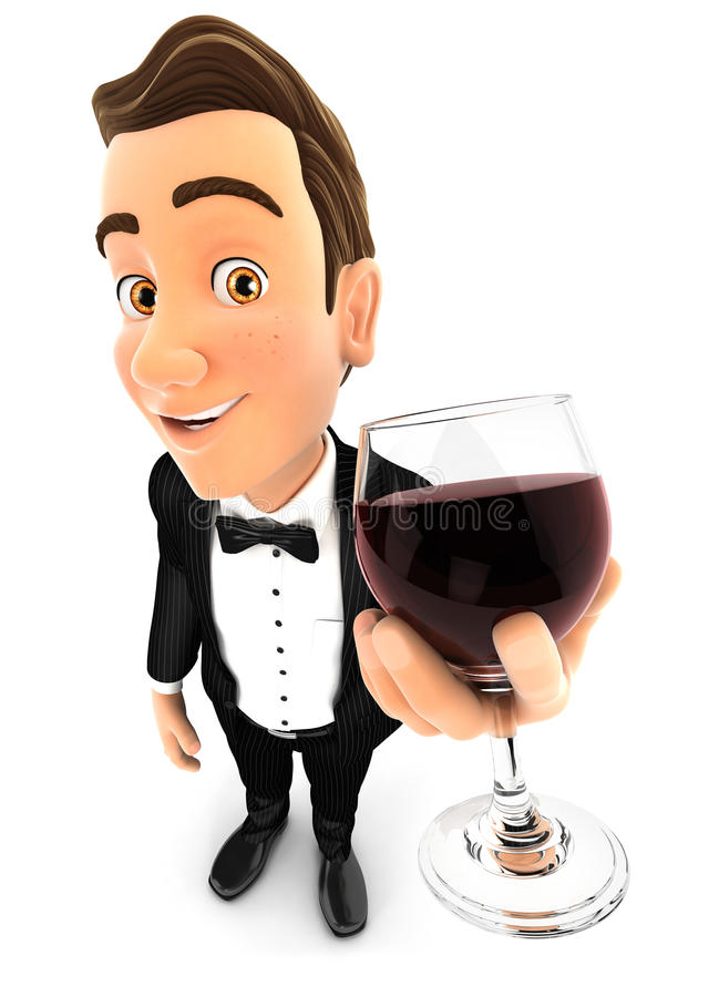 hållande exponeringsglas för uppassare 3d av rött vin stock illustrationer
