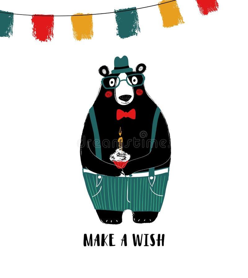 Hållande födelsedagmuffin för gullig björn stock illustrationer