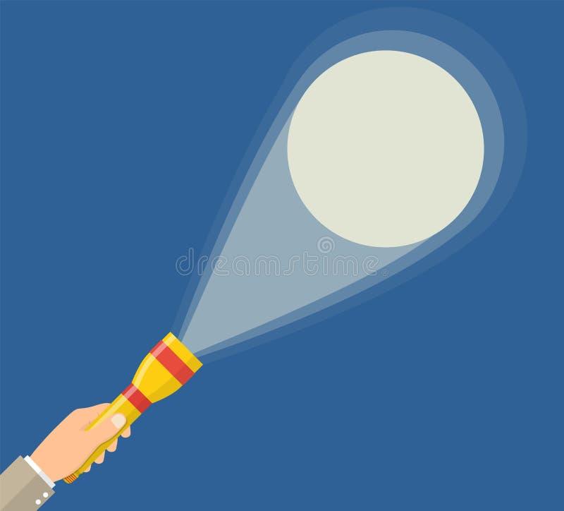 Hållande ficklampa för hand stock illustrationer