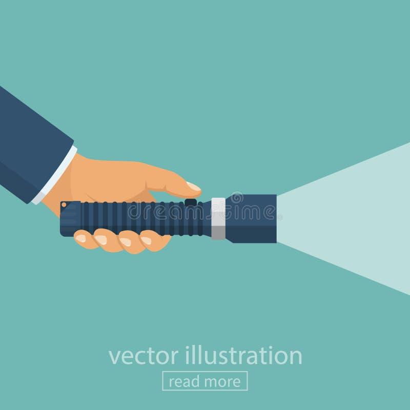 Hållande ficklampa för hand vektor illustrationer