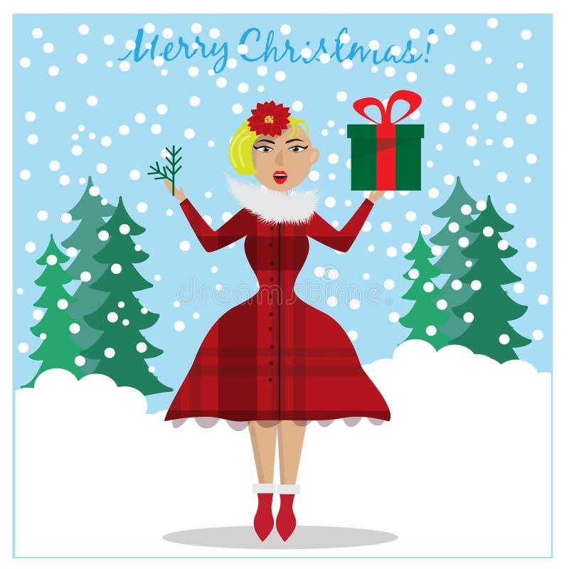 Hållande filial för förvånad flicka för jul gåva och julgrani händer Julfilial och klockor vektor illustrationer