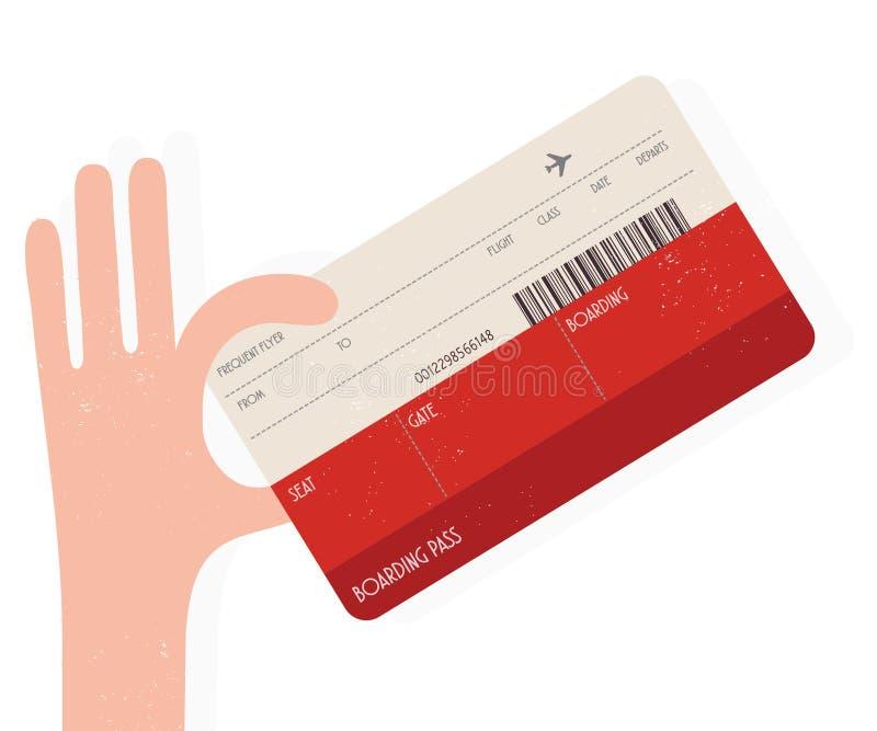Hållande flygbiljett för hand vektor illustrationer