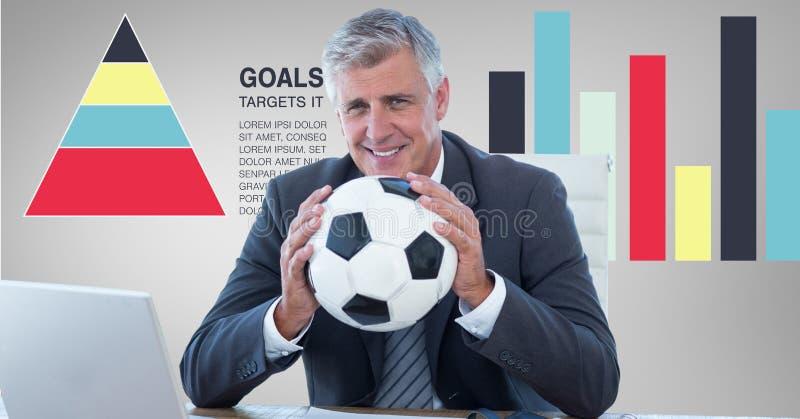 Hållande fotbollboll för affärsman mot grafer royaltyfri illustrationer