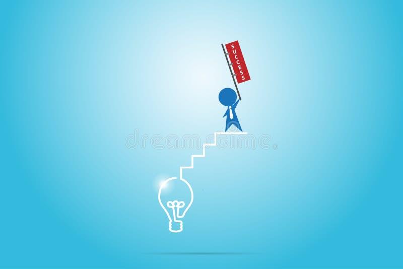 Hållande framgångflagga för affärsman på trappan av den ljusa kulan, framgång och affärsidéen royaltyfri illustrationer