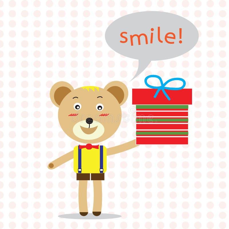 Hållande gåva för björn med leende för bubblaanförandeord! vektor stock illustrationer
