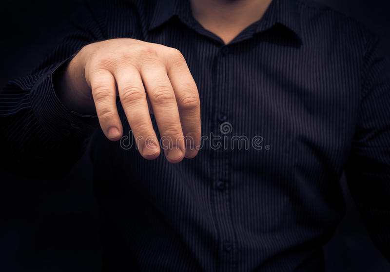 Hållande grej för handman något som äcklar fotografering för bildbyråer