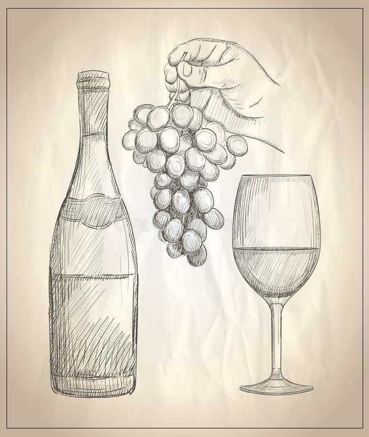 Hållande grupp för manhand av druvor, exponeringsglas av vin och en flaska av vinillustrationen royaltyfri illustrationer