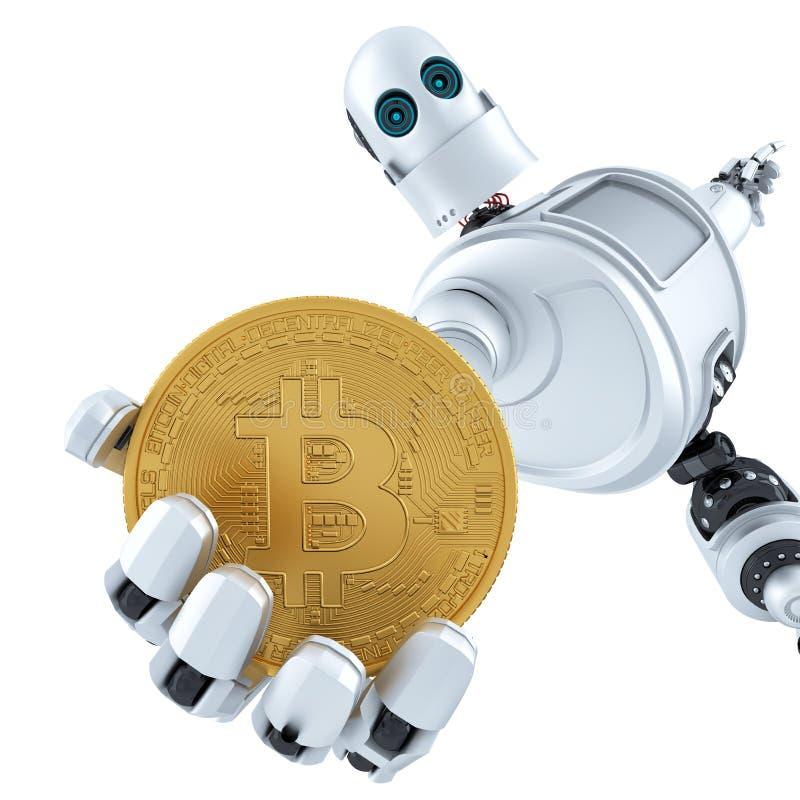 Hållande guld- bitcoin för robot illustration 3d isolerat innehåller vektor illustrationer