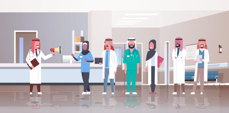 Hållande högtalare för arabisk manlig doktor som ropar till och med för doktorslag för megafon arabisk medicin för sjukhus för ko stock illustrationer