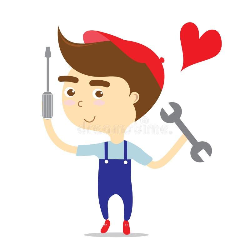 Hållande hjälpmedel för Repairman med röd hjärta för förälskelsejobbvektor royaltyfri illustrationer