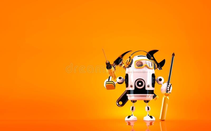Hållande hjälpmedel för robot begrepp isolerad teknologiwhite Innehåller den snabba banan stock illustrationer