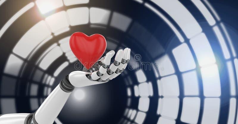 Hållande hjärta för Robotic androidhand och glödande cirkelteknologimanöverenhet vektor illustrationer