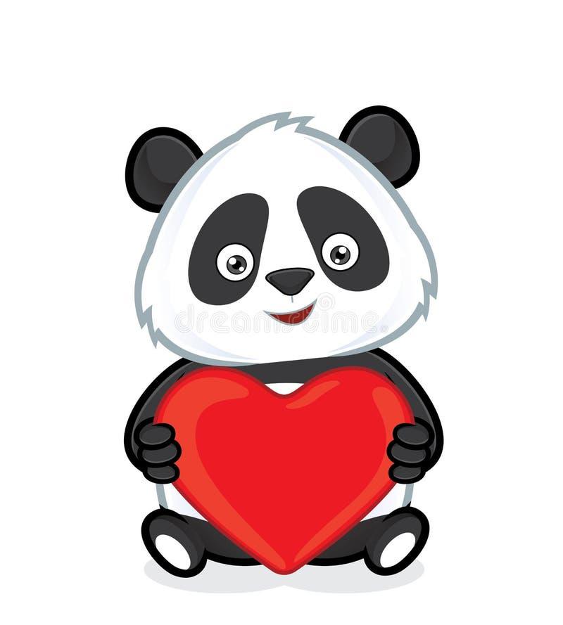 Hållande hjärtaförälskelse för panda royaltyfri illustrationer