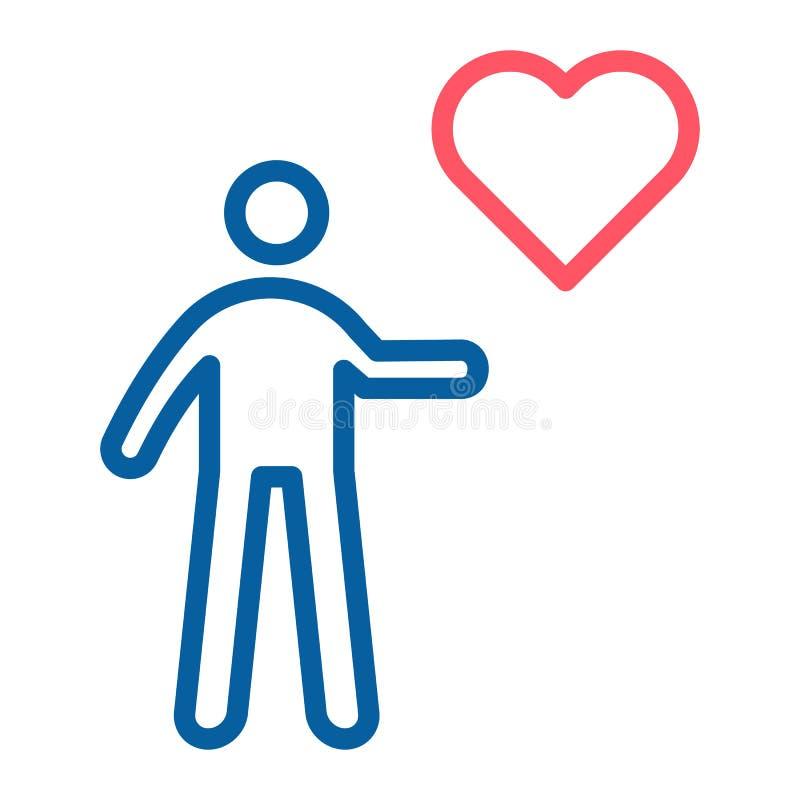 Hållande hjärtasymbol för person Tunn linje illustration för vektor Hjälpa som ställa upp som frivillig, donation, välgörenhet, m stock illustrationer