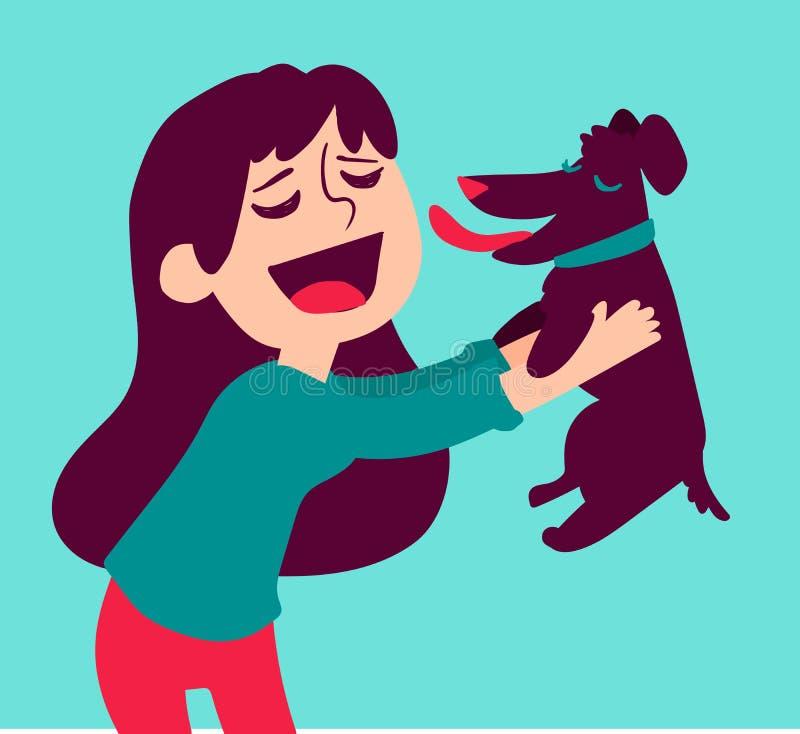 Hållande hund för gullig flicka royaltyfri illustrationer