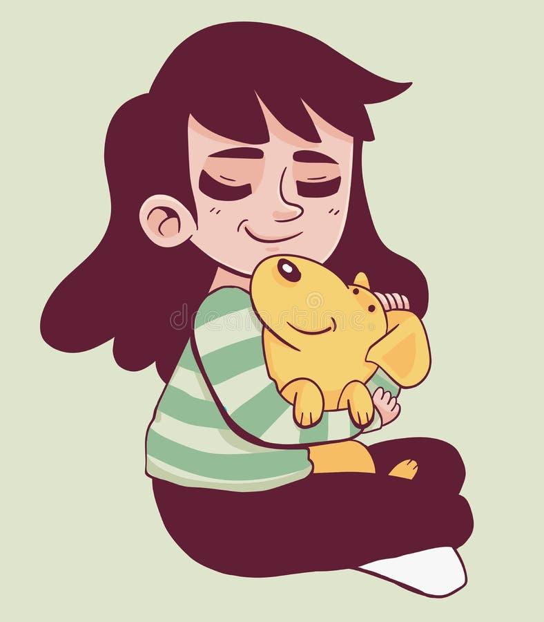 Hållande hund för gullig flicka vektor illustrationer