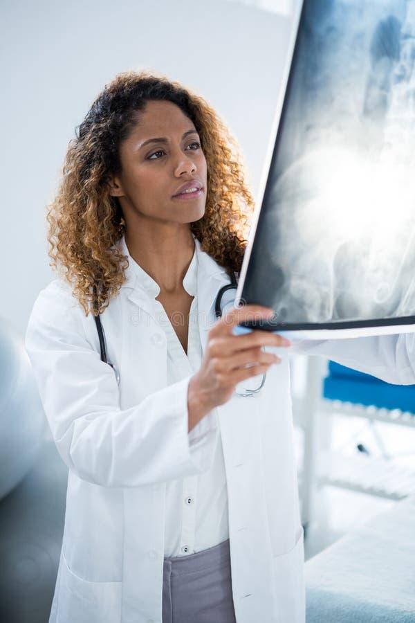 Hållande inbindningsröntgenstråle för fysioterapeut av patienten royaltyfria bilder