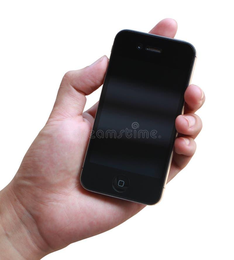Hållande iphone för hand royaltyfri fotografi