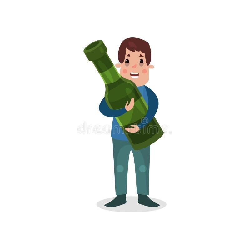 Hållande jätte- flaska för man av alkohol, skadlig vana och illustrationen för böjelsetecknad filmvektor royaltyfri illustrationer
