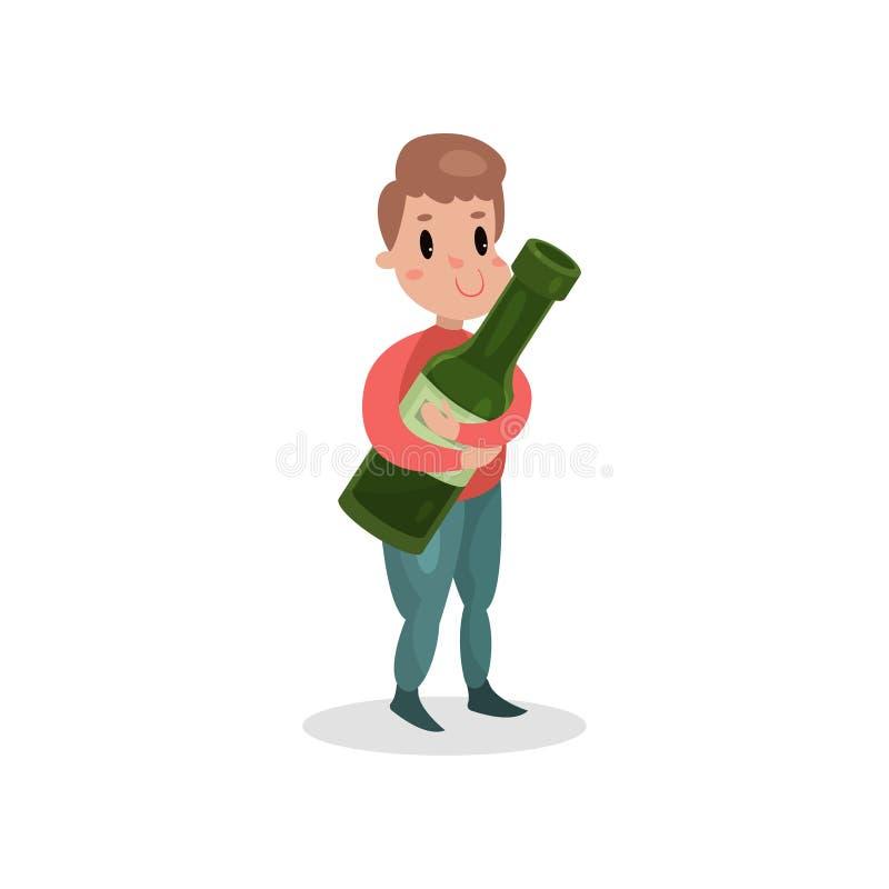 Hållande jätte- flaska för ung man av alkohol, skadlig vana och illustrationen för böjelsetecknad filmvektor stock illustrationer