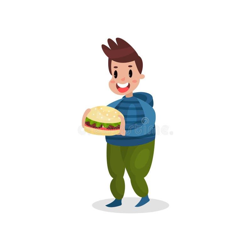 Hållande jätte- hamburgare för ung fet man, skadlig vana och illustration för böjelsetecknad filmvektor vektor illustrationer
