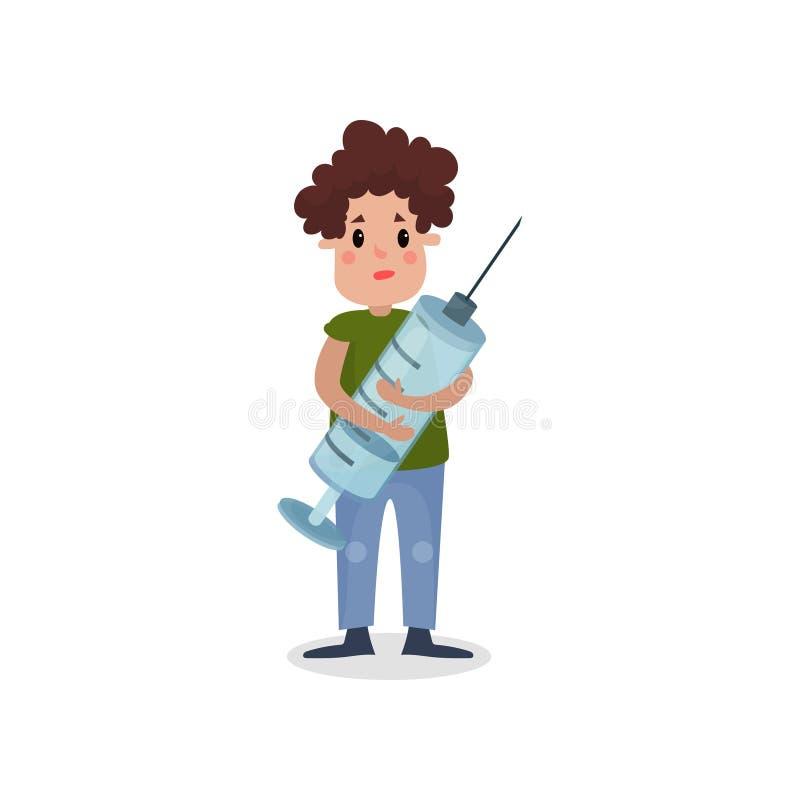 Hållande jätte- injektionsspruta för ung man, skadlig vana och illustration för böjelsetecknad filmvektor royaltyfri illustrationer