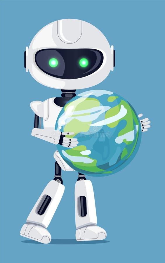 Hållande jordklot för robot i handvektorillustration royaltyfri illustrationer