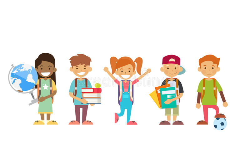 Hållande jordklot för skolbarngrupp, böcker, förskriftsböcker stock illustrationer