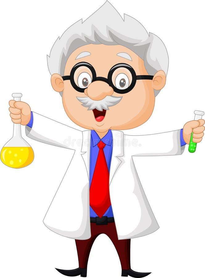 Hållande kemisk flaska för tecknad filmforskare stock illustrationer