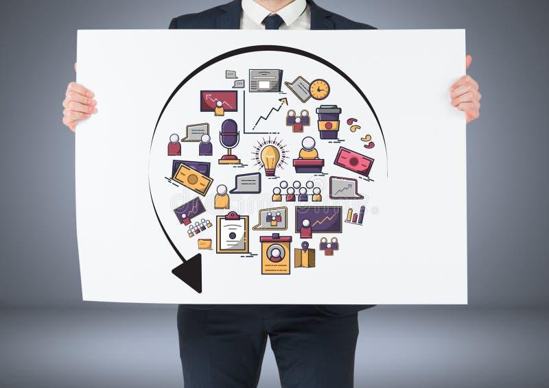 Hållande kort för affärsman med teckningar för idéaffärsdiagram royaltyfri illustrationer