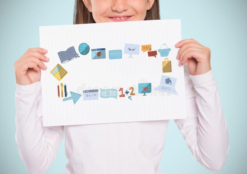 Hållande kort för flicka med utbildningsdiagramteckningar vektor illustrationer
