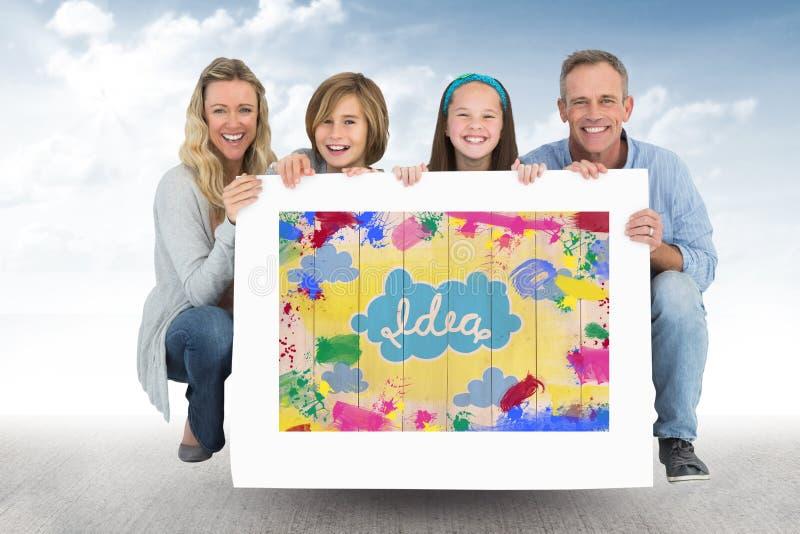 Hållande kort för lycklig famil med den färgrika illustrationen royaltyfri illustrationer
