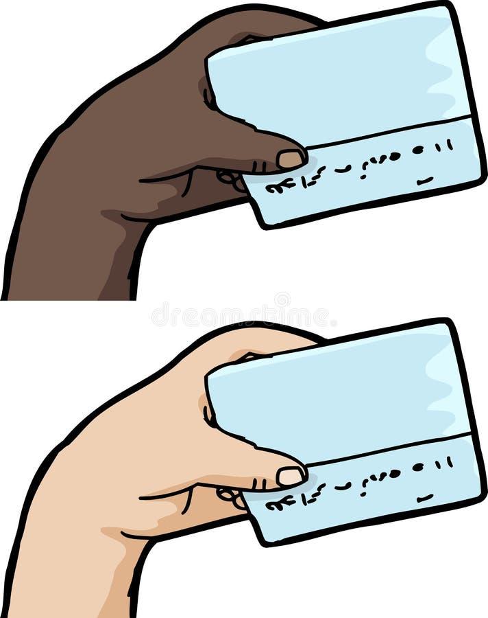 Hållande kreditkort för hand royaltyfri illustrationer