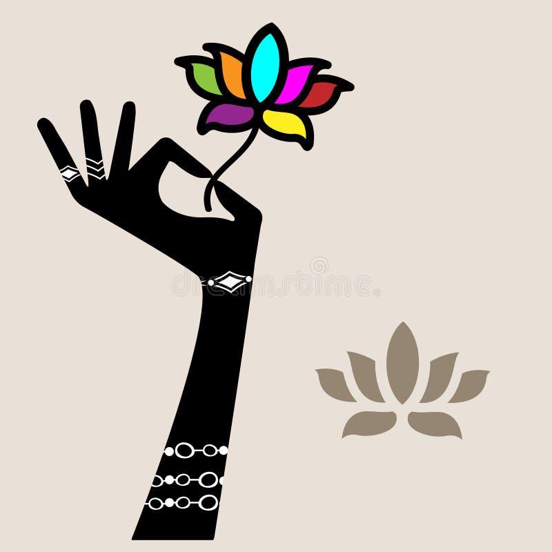 Hållande lotusblommablomma för hand vektor illustrationer