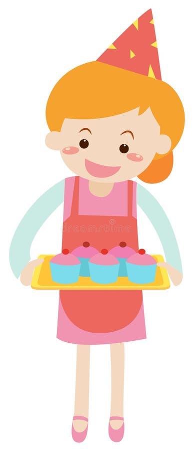 Hållande magasin för kvinna av muffin vektor illustrationer
