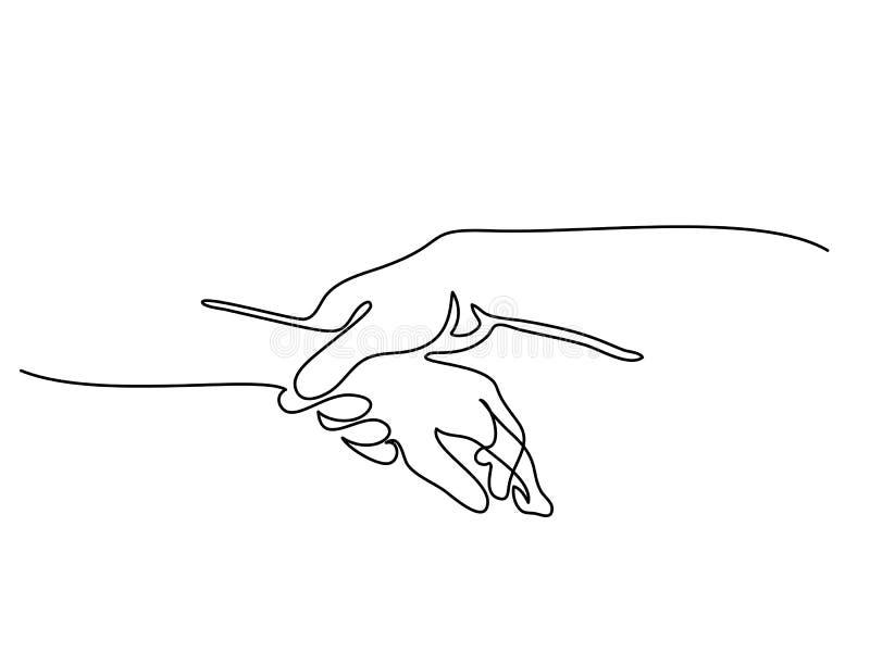 Hållande man- och kvinnahänder tillsammans vektor illustrationer
