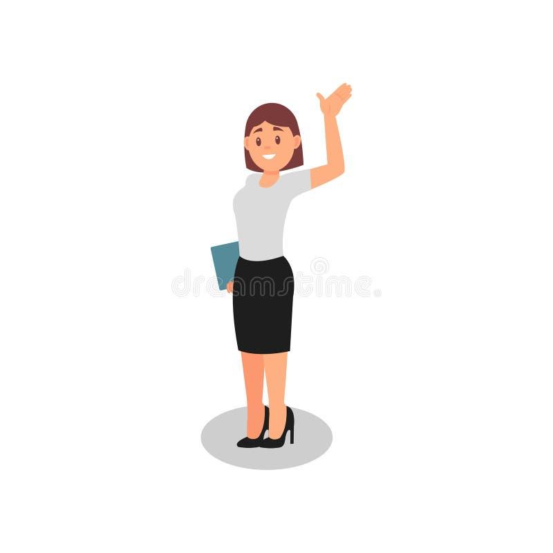Hållande mapp för affärskvinna och vinka förbi handen lycklig kontorsarbetare Ung flicka i formell kläder Plan vektordesign royaltyfri illustrationer
