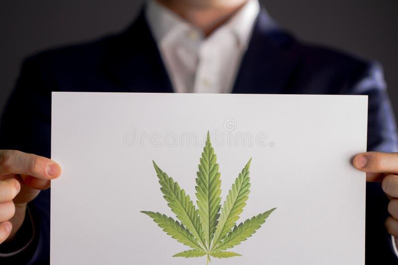 Hållande marijuanalogo för man royaltyfria foton