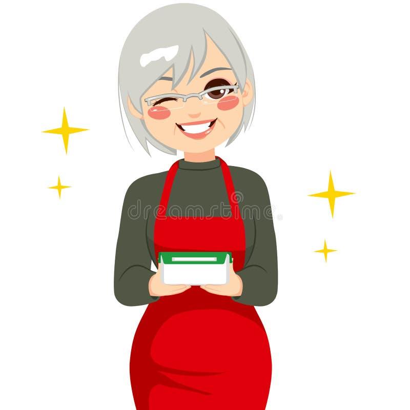 Hållande matbehållare för lycklig farmor royaltyfri illustrationer