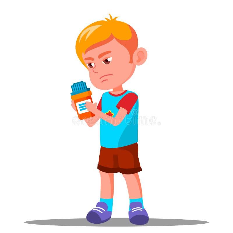 Hållande medicin för barn i hans handvektor hälsa isolerad knapphandillustration skjuta s-startkvinnan vektor illustrationer