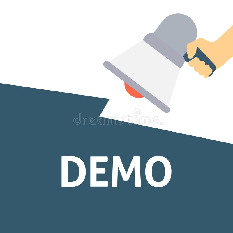 Hållande megafon för hand med DEMO Announcement royaltyfri illustrationer