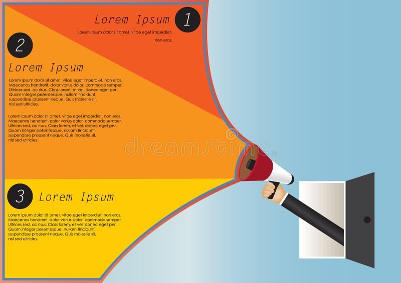 Hållande megafon för hand till anförande, Infographic vektor illustrationer