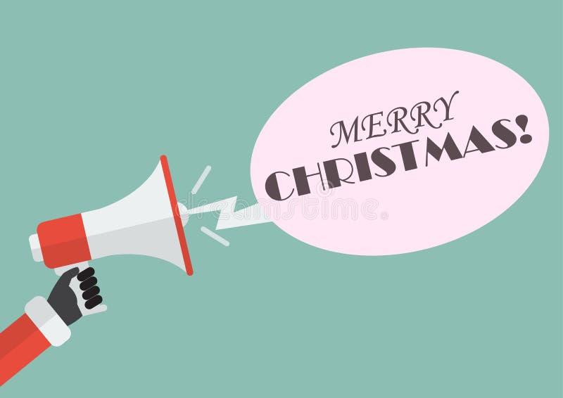 Hållande megafon för jultomtenhand med glad jul för ord stock illustrationer