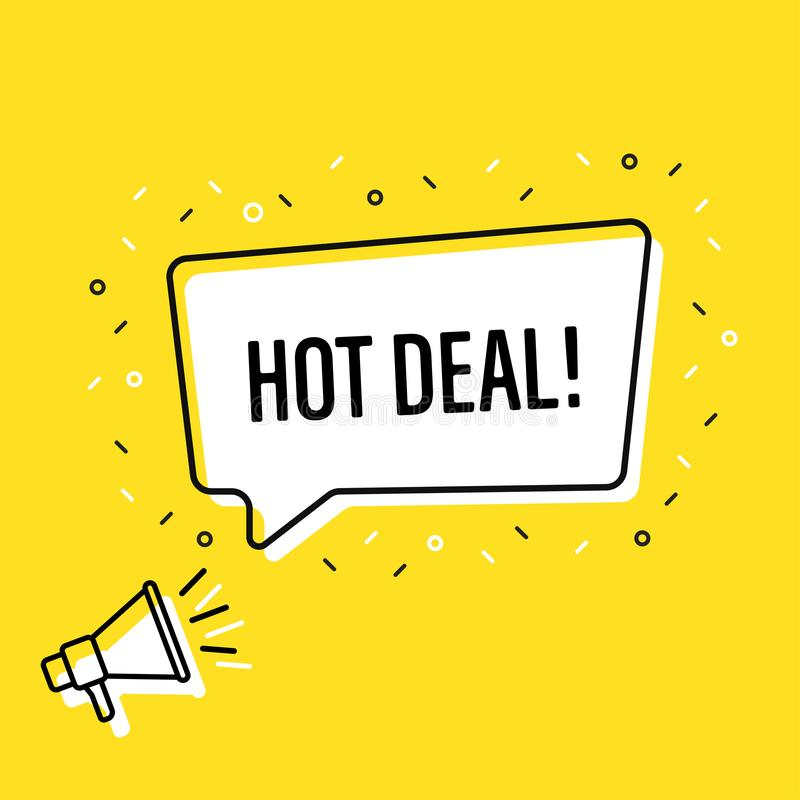 Hållande megafon för manlig hand med den varma avtalsanförandebubblan högtalare Baner för affär, marknadsföring och advertizing v royaltyfri illustrationer