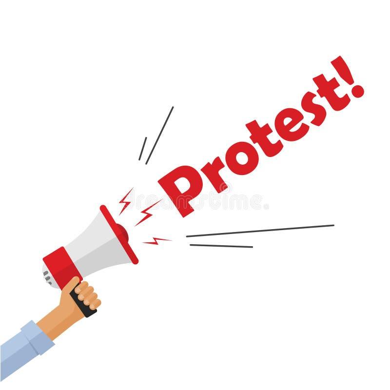Hållande megafon för protesterarehand som ropar protesttexttecknet, ilsken person royaltyfri illustrationer