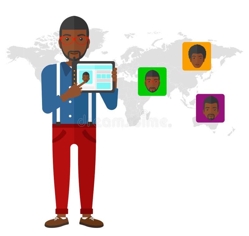Hållande minnestavladator för man med socialt massmedia stock illustrationer