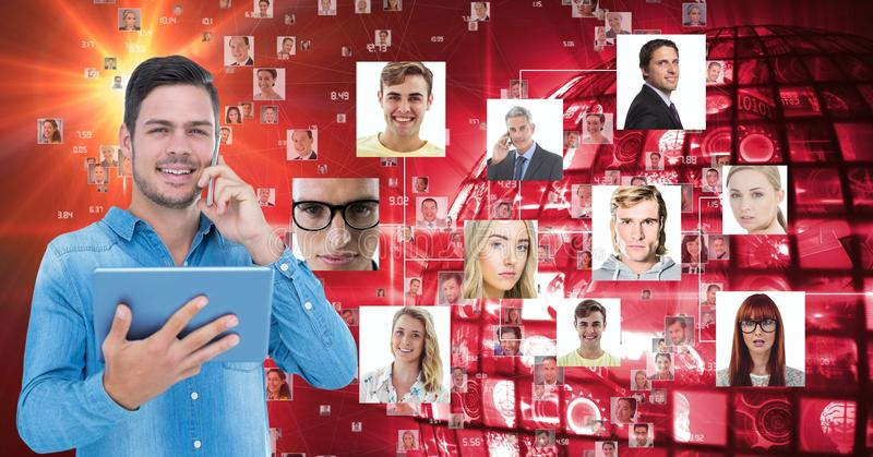 Hållande minnestavlaPC för affärsman, medan genom att använda mobiltelefonen mot stående stock illustrationer