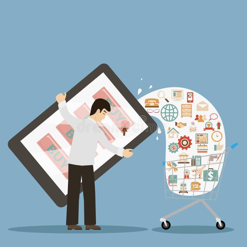 Hållande mobil för plan designstilaffärsman stock illustrationer