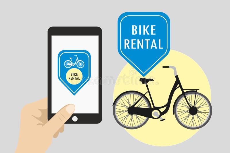 Hållande mobiltelefon för hand med cykelhyra app royaltyfri illustrationer