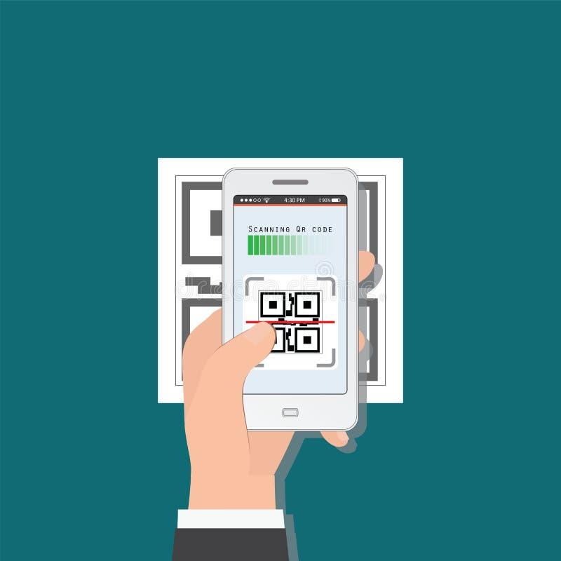 Hållande mobiltelefon för hand som avläser QR-kod från dokument vektor illustrationer